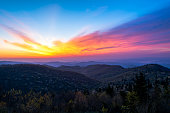 Colorful sunrise from the Black Balsam Area of the Blue Ridge Parkway in the Pisgah National Forest in Western North Carolina.