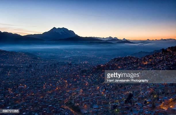 Sunrise in the capital of Bolivia, La Paz
