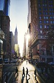 people walking in E 42th street in Manhattan at morning. New York