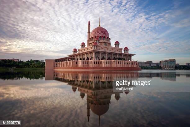 Sunrise moment at Putra Mosque, a principal mosque of Putrajaya, Malaysia.