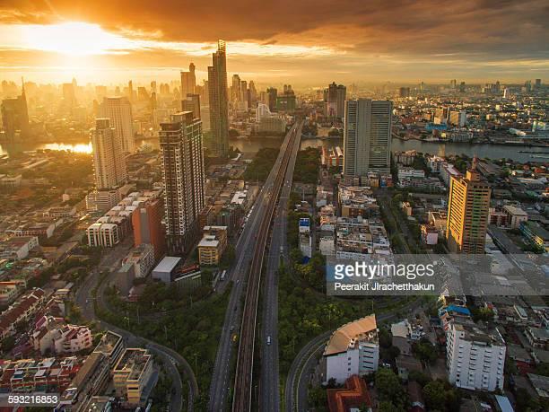 Sunrise of Bangkok city