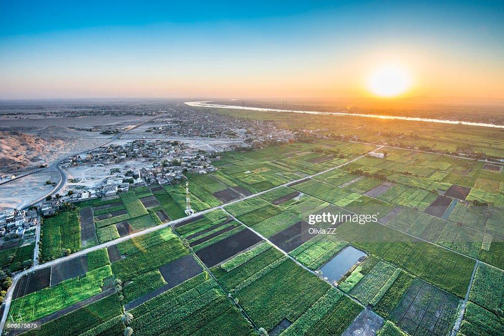 Sunrise of Nile river, Luxor, Egypt : Stock Photo