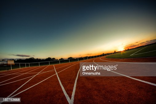 Sunrise on athletics track : Photo
