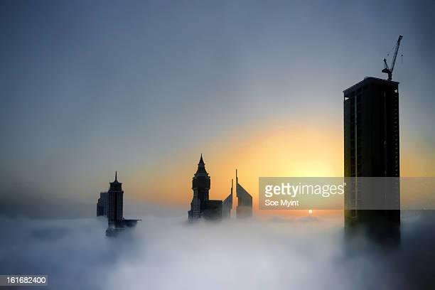 Sunrise on fogs