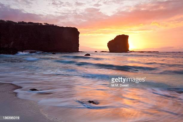 Sunrise on island of Lanai, Maui, Hawaii