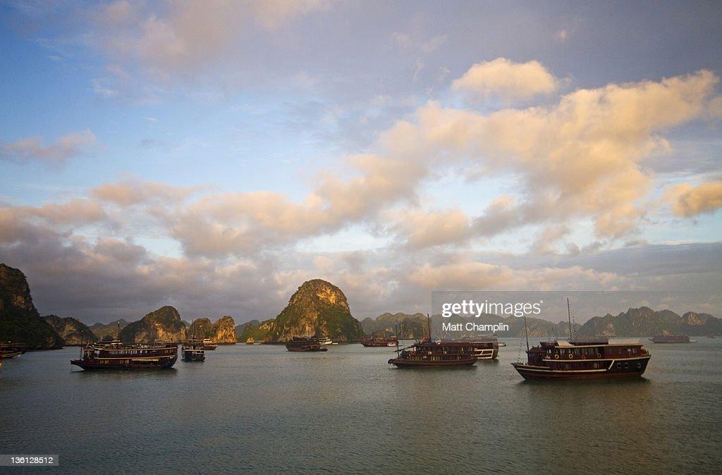 Sunrise on junk boats in Halong Bay : Stock Photo