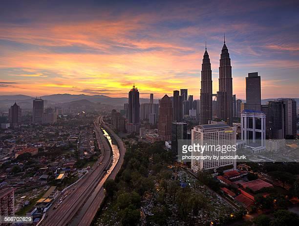 Sunrise on Kuala Lumpur skyline
