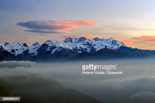 Sunrise on Mount Rosa Graian Alps Italy