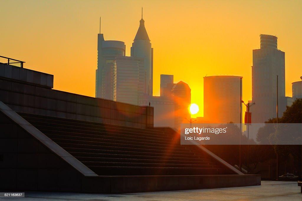 Sunrise on Shanghai People's Square
