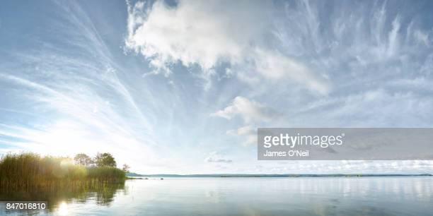 Sunrise on still lake panoramic