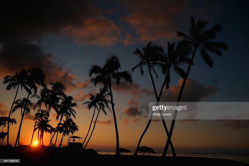 Sunrise on the 16th green at Waialae Country Club before the final round of the Sony Open on January 18 2015 in Honolulu Hawaii