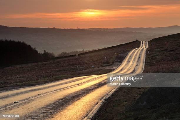 Sunrise on the moor road, Ilkley