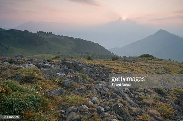 Sunrise on the Seiser Alm, Dolomites, Alto Adige, Italy, Europe