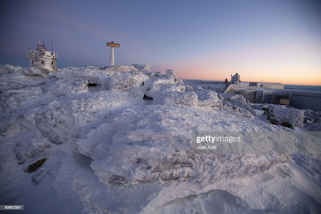 Sunrise on the summit of Mt. Washington, the highest peak in New England,  in the White Mountains of