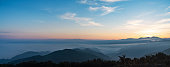 Sunrise over a sea of clouds from the top of a mountain in Japan