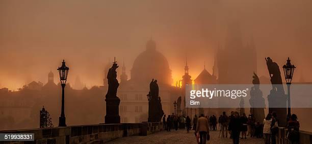 Sunrise over Charles Bridge in Prague, Czech Republic