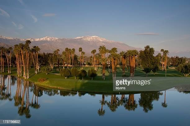 Sunrise over desert golf resort