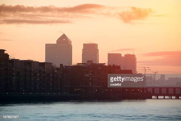 Sunrise over Docklands and Canary Wharf, London