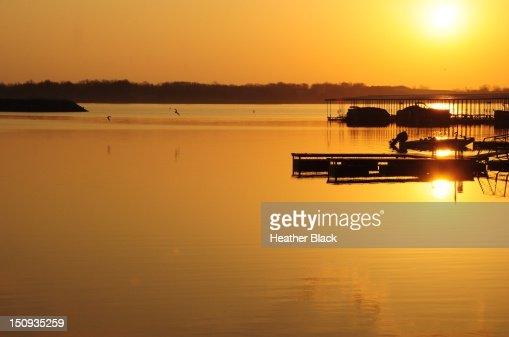 Sunrise over docks : Stock Photo