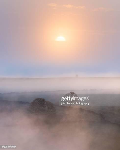 Sunrise over England. Derbyshire peak district.