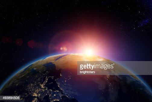Sunrise over Europe and Africa from space