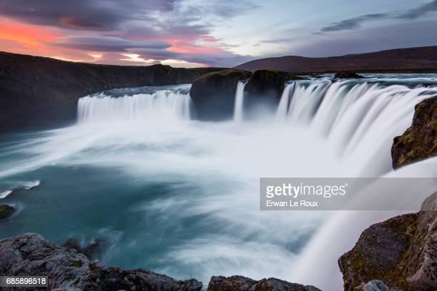 Sunrise over Godafoss waterfall