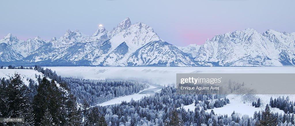 Sunrise over Grand Tetons in winter, Grand Teton National Park, Wyoming, USA : Stock Photo
