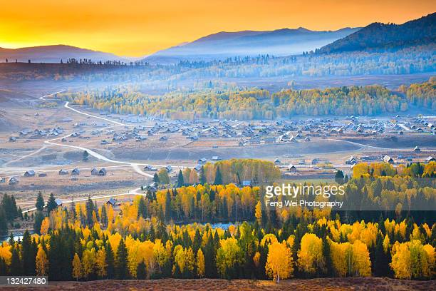 Sunrise over Hemu village, Xinjiang China