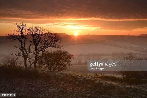 Sunrise over Hod Hill in Dorset