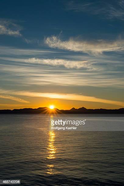 Sunrise over Isla Carmen seen from the town of Loreto Sea of Cortez Baja California Mexico