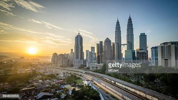 Sunrise over Kuala Lumpur skyline, Malaysia