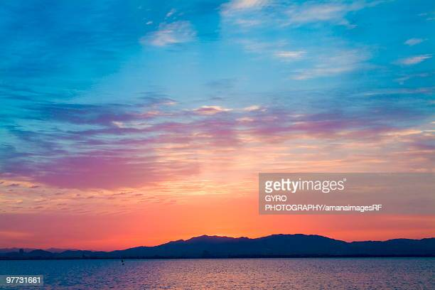 Sunrise over Lake Biwa. Otsu, Shiga Prefecture, Japan