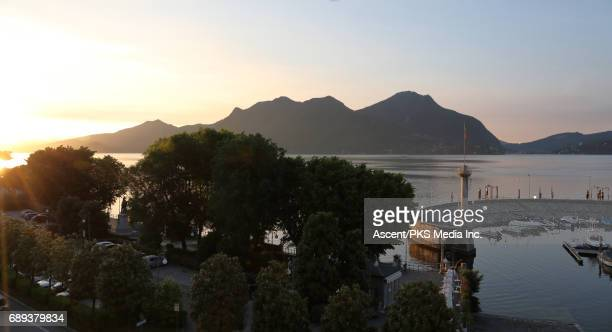Sunrise over Lake Maggiore and pier