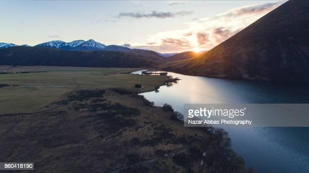 Sunrise Over Lake Pearson (Moana Rua) High Country, South Island, New Zealand.