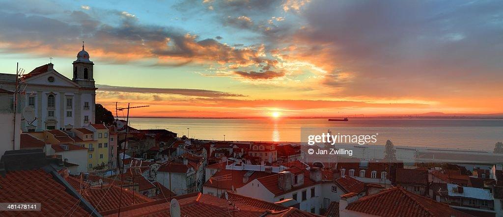 Sunrise over Lisbon Old Town