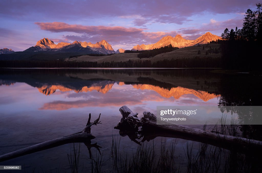 Sunrise Over Little Redfish Lake and the Sawtooth Range