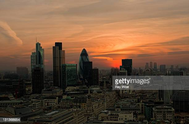 Sunrise over london city
