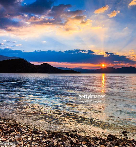 Sunrise over Lugu lake, Yunnan, China