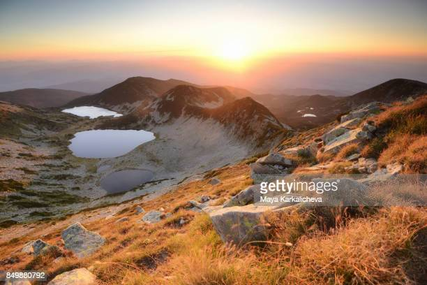 Sunrise over majestic mountain lakes in Pirin, Europe, Bulgaria