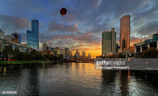 Sunrise over Melbourne with Hot Air Ballooons