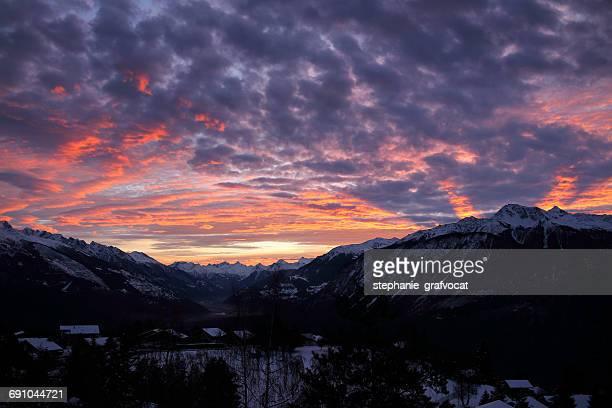 Sunrise over mountains, Switzerland