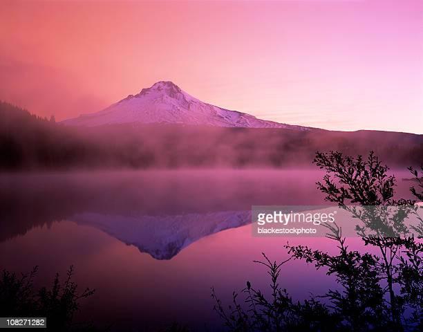 Sunrise Over Mt Hood and Foggy Trillium Lake