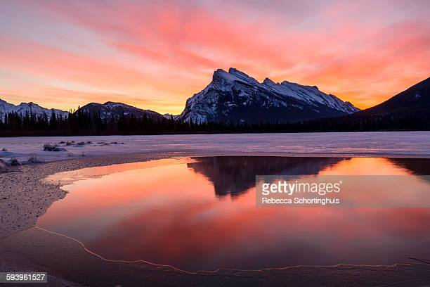 Sunrise over Mt Rundle and Vermilion Lakes