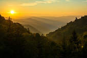 Sunrise over Newfound Gap in the Great Smoky Mountains National Park.