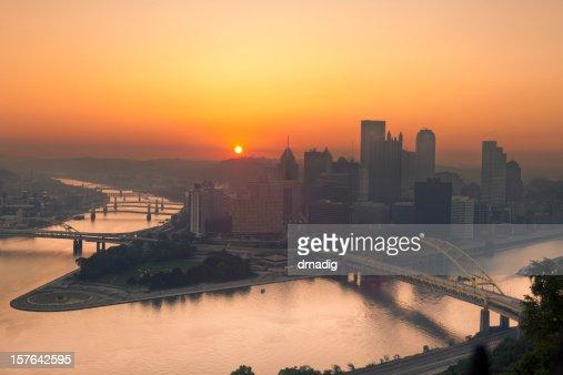 Sunrise over Pittsburgh Illuminates Sky in Orange From Summer Haze