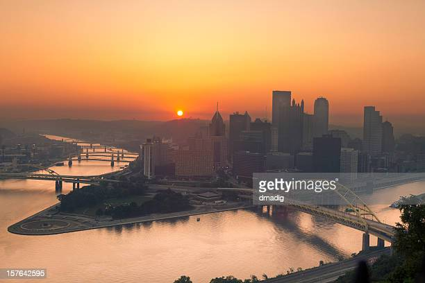 Sunrise over Pittsburgh Illuminates Sky in Orange From Summer Haze