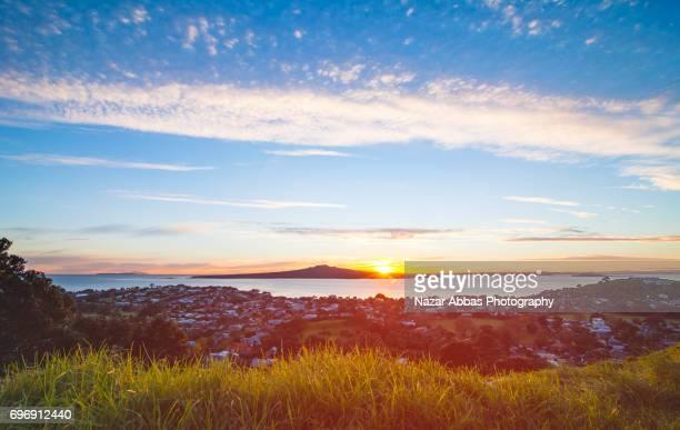 Sunrise Over Rangitoto Island View From Mt Victoria, Devonport, Auckland.