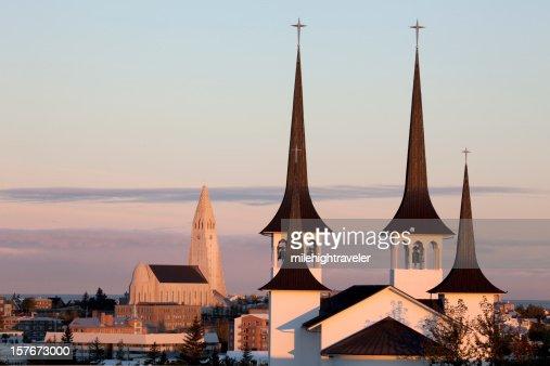 Sunrise over Reykjavík's Lutheran churches Iceland