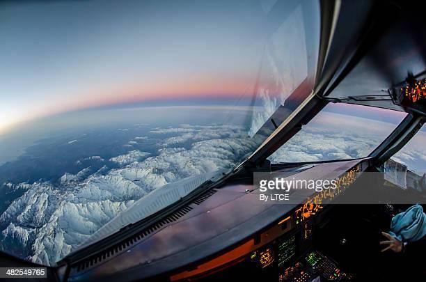 Sunrise over snowy Alps