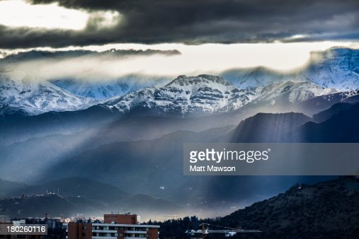 Sunrise Over The Andes and Santiago Chile